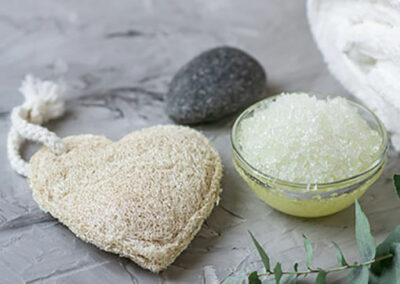 Spa services heart loofah body scrub
